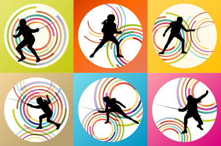 Fencing sport silhouette vector background set concept for poster