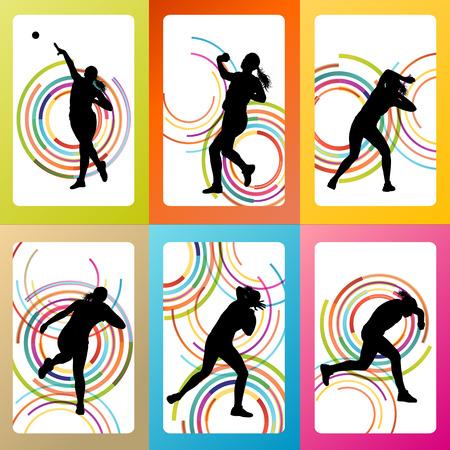put: Athletic woman shot put vector background concept Illustration