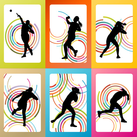 Athletic woman shot put vector background concept Illustration