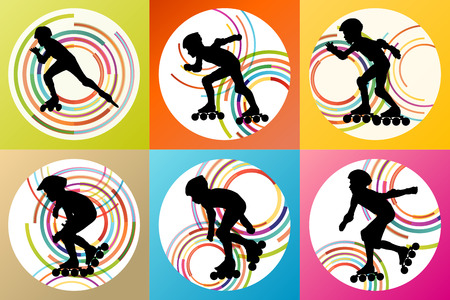 roller blade: Roller skating silhouettes vector background winner concept
