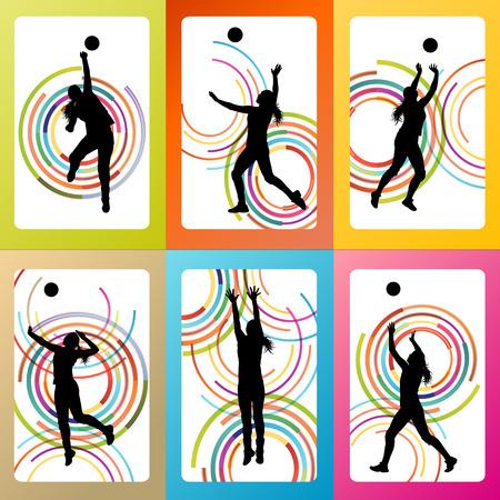 Volleybal vrouw speler vector achtergrond in te stellen concept voor poster
