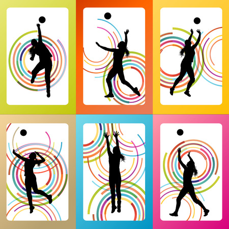 female volleyball: Volleyball woman player vector background set concept for poster