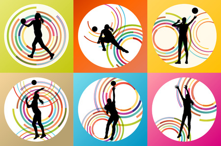nets: Volleyball woman player vector background set concept for poster