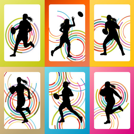 Rugby player woman silhouette vector background set for poster Vector