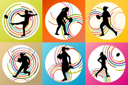 tough woman: Rugby player woman silhouette vector background set for poster