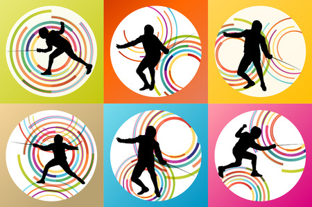 pentathlon: Fencing sport silhouette vector background set concept for poster