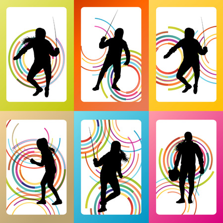 fencing: Fencing sport silhouette vector background set concept for poster