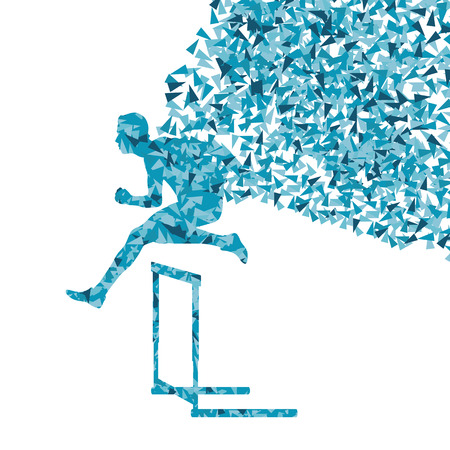 hurdle: Hurdle racer man barrier running vector background. Winner overcoming difficulties concept Illustration