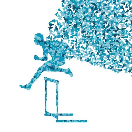 overcoming: Hurdle racer man barrier running vector background. Winner overcoming difficulties concept Illustration