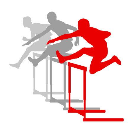 hurdling: Hurdle race man barrier running vector background winner overcoming difficulties concept Illustration