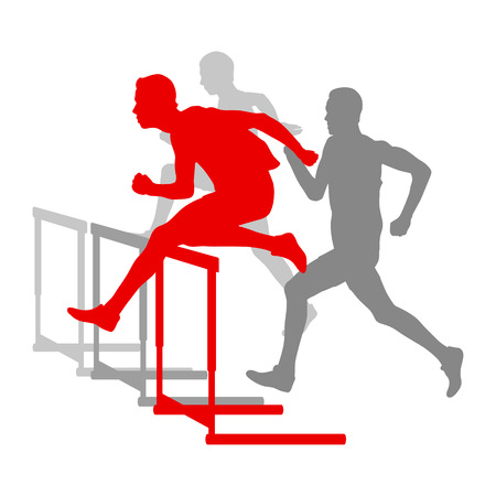 overcoming: Hurdle race man barrier running vector background winner overcoming difficulties concept Illustration
