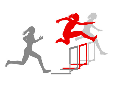 hurdling: Hurdle race woman barrier running vector background winner overcoming difficulties concept