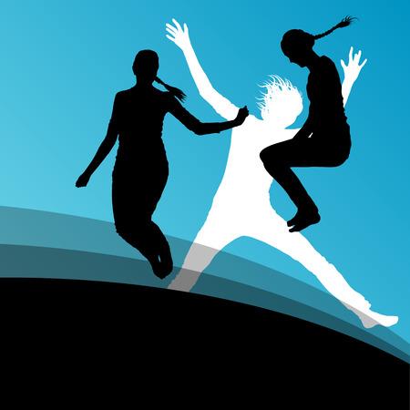 fiatal nők: Fiatal nők aktív sziluettek ugrás a levegőben absztrakt háttér vektoros illusztráció