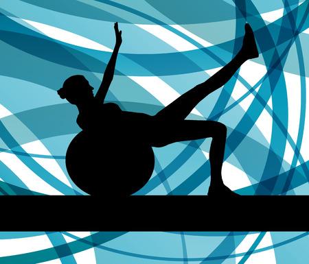 fitness ball: Mujer en bola de la aptitud Ejercicios de vectores de fondo para el cartel