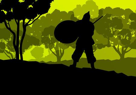crusader: Medieval warrior, crusader vector background landscape concept with trees and forest