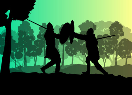 knights templar: Medieval warrior, crusader vector background landscape concept with trees and forest