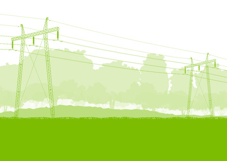 transmission line: High voltage power transmission tower line green ecology energy concept