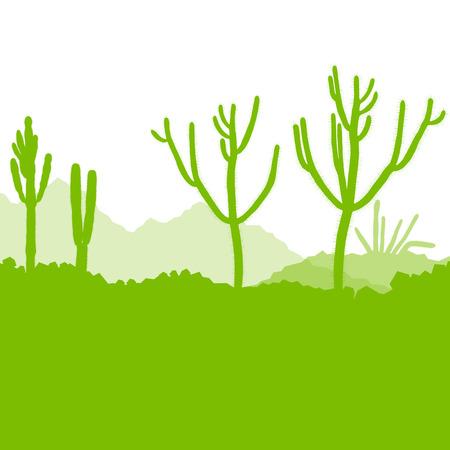 cactus desert: Cactus, ecologisch concept voor poster Stock Illustratie