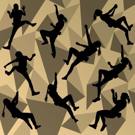 Kinderen meisje bergbeklimmer sport atleet klimwand in abstracte silhouet achtergrond illustratie vector