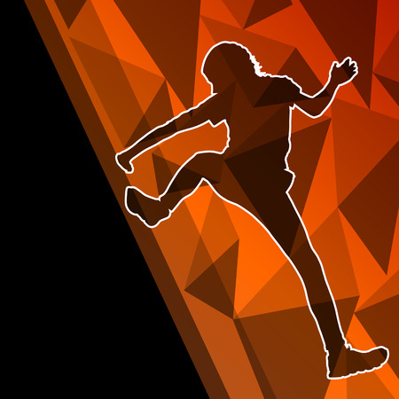 Children girl rock climber sport athlete climbing wall in abstract silhouette background illustration vector Vector