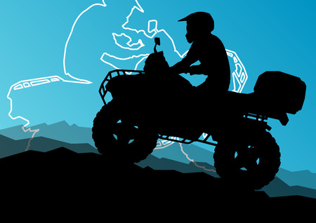 quad: All terrain vehicle quad motorbike riders in wild nature abstract mountain landscape background illustration vector