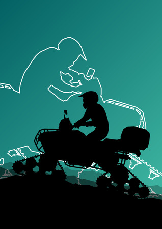quad: Snowmobile all terrain quad motorbike vehicle rider in wild nature snow and ice abstract landscape background illustration