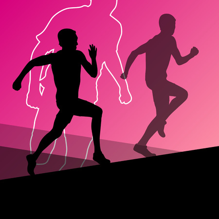 hurdles: Active young men sport athletics hurdles barrier running silhouettes illustration