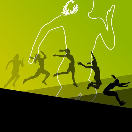 salto largo: Mujer chica triple salto largo vuelo activo deporte atlético siluetas ilustración Vectores