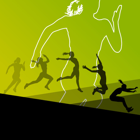 long jump: Woman girl triple long jump flying active sport athletic silhouettes illustration