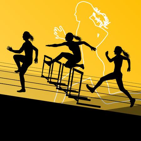 hurdling: Active women girl sport athletics hurdles barrier running silhouettes illustration Illustration