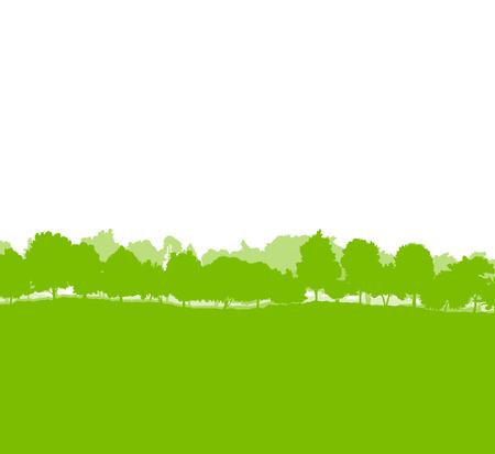 Bos bomen silhouetten landschap illustratie achtergrond ecologie vector-concept