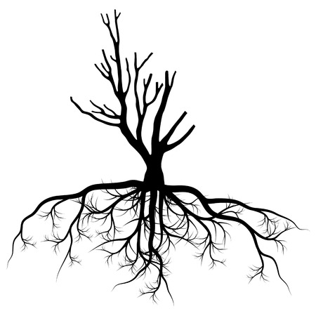 Tree with roots background vector pollution concept for poster