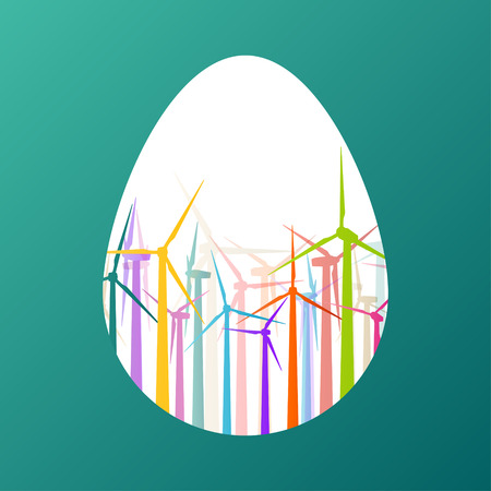 generators: Easter egg with colorful wind electricity generators and windmills in fresh spring color abstract background concept illustration vector Illustration