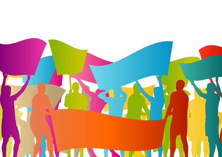Protesters angry people crowd with posters and flags in abstract riot landscape background illustration