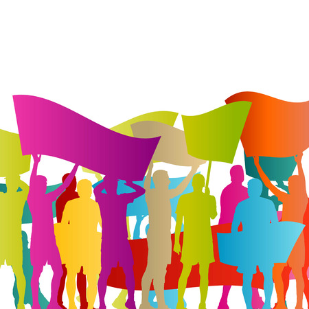 riot: Protesters angry people crowd with posters and flags in abstract riot landscape background illustration