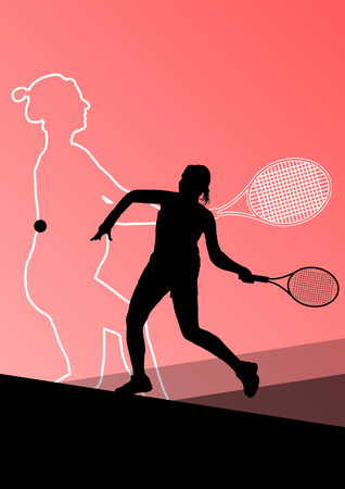girl tennis: Girl tennis players active sport silhouettes vector abstract background illustration