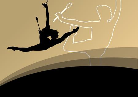 calisthenics: Activo mujeres j�venes calistenia deporte gimnastas siluetas con clubes de acrobacias fondo abstracto ilustraci�n vectorial