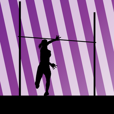 high jump: High jump woman vector abstract background for poster