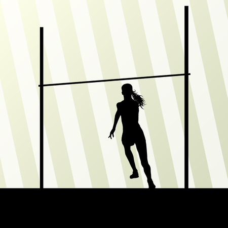 pole vault: High jump woman vector abstract background for poster
