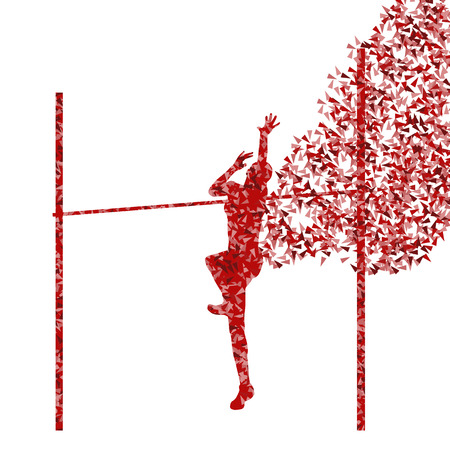girl sport: Salto in alto donna atletica attivo ragazza sport concetto di silhouette illustrazione vettoriale
