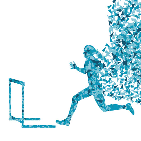 overcoming: Hurdle racer woman barrier running vector background. Winner overcoming difficulties concept