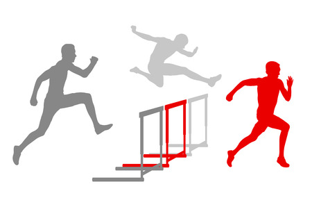 race winner: Hurdle race man barrier running vector background winner overcoming difficulties concept Illustration