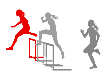 difficulties: Hurdle race woman barrier running vector background winner overcoming difficulties concept
