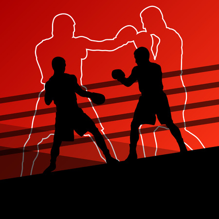 boxing knockout: Boxing active young men box sport silhouettes abstract background illustration vector