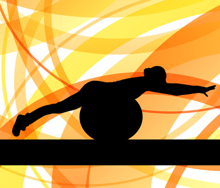 out of body: Woman on fitness ball exercises vector background for poster