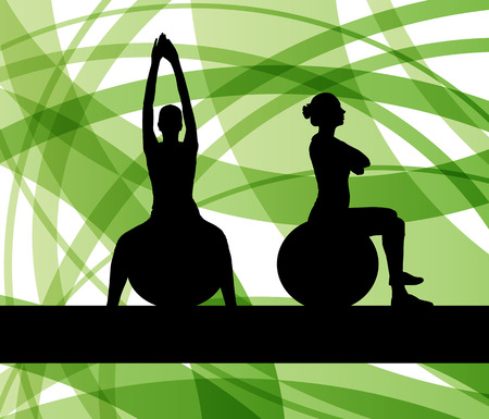 flexible woman: Woman on fitness ball exercises vector background for poster