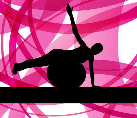 fitness ball: Woman on fitness ball exercises vector background for poster