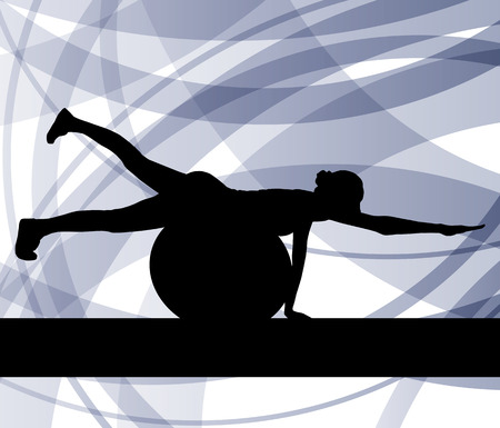 weight loss woman: Woman on fitness ball exercises vector background for poster