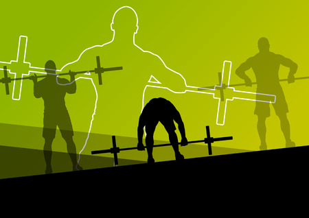 Men crossfit weight lifting sport silhouettes abstract background illustration vector