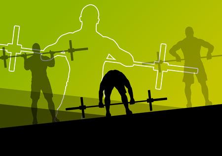 Mannen crossfit gewichtheffen sport silhouetten abstracte achtergrond illustratie vector